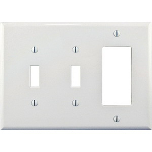 Cooper Wiring PJ226W Arrow Hart™ 3-Gang Midway-Size Combination Wallplate; Screw Mount, Polycarbonate, White