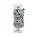 Cooper Wiring CR20GY Arrow Hart™ Double Pole Straight Blade Duplex Receptacle; Screw Mount, 125 Volt AC, 20 Amp, Gray
