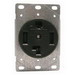 Cooper Wiring 1257-SP Arrow Hart™ Three Pole Straight Blade Single Receptacle; Flush Mount, 125/250 Volt, 30 Amp, Black