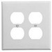 Cooper Wiring PJ82W Arrow Hart™ 2-Gang Midway-Size Duplex Receptacle Wallplate; Device Mount, Thermoplastic Nylon, White