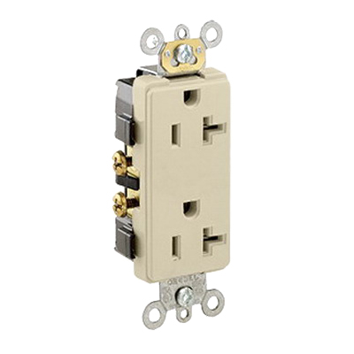 Leviton 16342-I Decora® Plus Double Pole Straight Blade Duplex Receptacle; Wall Mount, 125 Volt, 20 Amp, Ivory