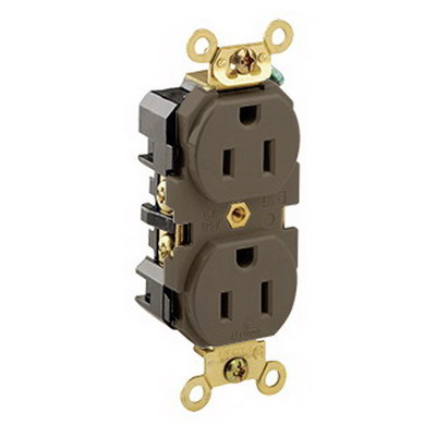 Leviton 5262 Double Pole Straight Blade Duplex Receptacle; Wall Mount, 125 Volt, 15 Amp, Brown