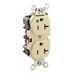 Leviton 8300-I Double Pole Straight Blade Duplex Receptacle; Wall Mount, 125 Volt, 20 Amp, Ivory