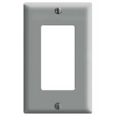 Leviton 80401-GY Decora® 1-Gang Standard-Size GFCI Decorator Wallplate; Device Mount, Thermoset Plastic, Gray