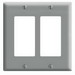 Leviton 80409-GY Decora® 2-Gang Standard-Size GFCI Decorator Wallplate; Device Mount, Thermoset Plastic, Gray