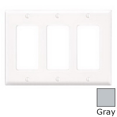Leviton 80411-GY Decora® 3-Gang Standard-Size GFCI Decorator Wallplate; Device Mount, Thermoset Plastic, Gray