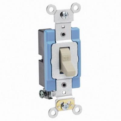 Leviton 1201-2I Extra Heavy Duty Grade AC Quiet Toggle Switch 1-Pole  120/277 Volt AC  15 Amp  Ivory