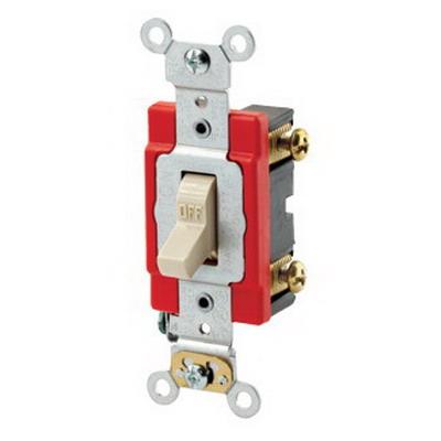 Leviton 1222-2I Extra Heavy Duty Grade AC Quiet Toggle Switch; 2-Pole, 120/277 Volt AC, 20 Amp, Ivory