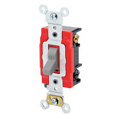 Leviton 1223-2GY Extra Heavy Duty Grade AC Quiet 3-Way Toggle Switch; 1-Pole, 120/277 Volt AC, 20 Amp, Gray
