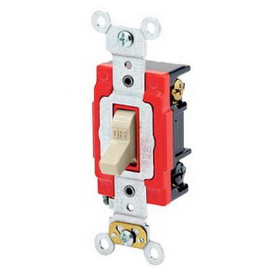 Leviton 1223-2I Extra Heavy Duty Grade AC Quiet 3-Way Toggle Switch; 1-Pole, 120/277 Volt AC, 20 Amp, Ivory