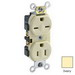 Leviton 5031-I Double Pole Straight Blade Combination Duplex Receptacle; Wall Mount, 125/250 Volt, 15 Amp, Ivory