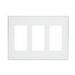 Leviton 80311-SW Decora Plus™ Decora® 3-Gang Standard-Size Screwless Decorator Wallplate; Snap-On Mount, Polycarbonate, White
