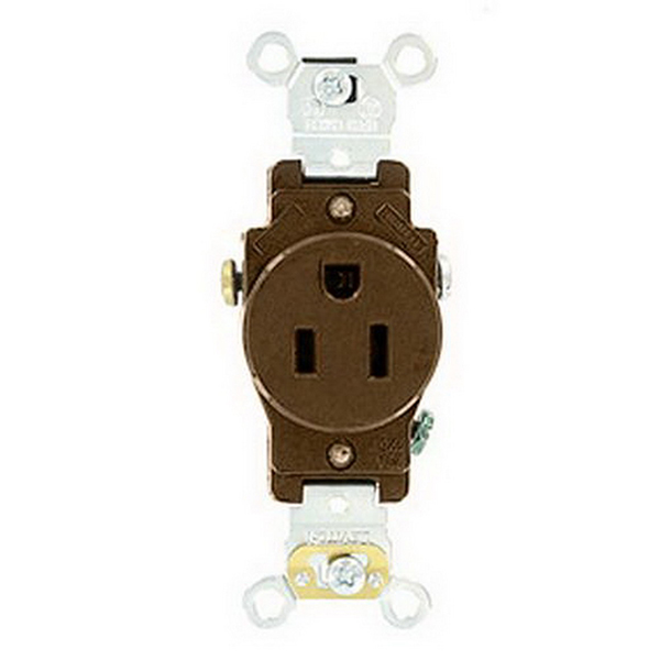 Leviton 5251 Double Pole Straight Blade Single Receptacle; Wall Mount, 125 Volt, 15 Amp, Brown