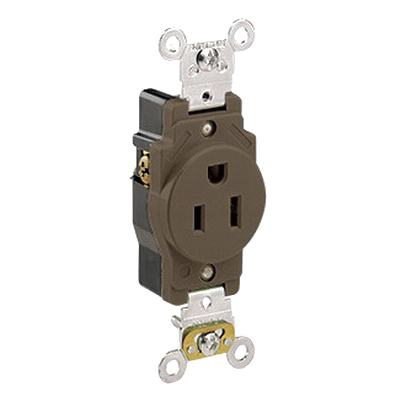 Leviton 5261 Double Pole Straight Blade Single Receptacle; Wall Mount, 125 Volt, 15 Amp, Brown