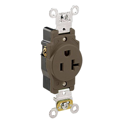 Leviton 5361 Double Pole Straight Blade Single Receptacle; Wall Mount, 125 Volt, 20 Amp, Brown