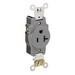 Leviton 5361-GY Double Pole Straight Blade Single Receptacle; Wall Mount, 125 Volt, 20 Amp, Gray