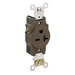 Leviton 5461 Double Pole Straight Blade Single Receptacle; Wall Mount, 250 Volt, 20 Amp, Brown
