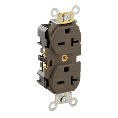 Leviton 5462 Double Pole Straight Blade Duplex Receptacle; Wall Mount, 250 Volt, 20 Amp, Brown