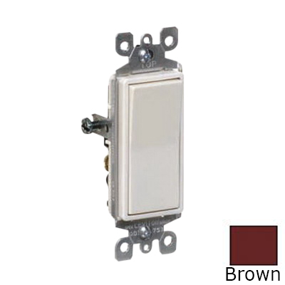 Leviton 5601-2 Decora® AC Quiet Switch; 1-Pole, 120/277 Volt AC, 15 Amp, Brown