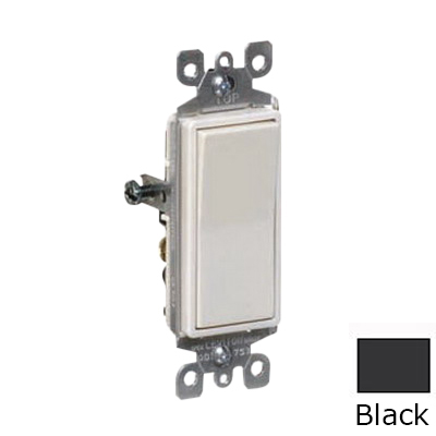 Leviton 5601-2E Decora® AC Quiet Rocker Switch; 1-Pole, 120/277 Volt AC, 15 Amp, Black