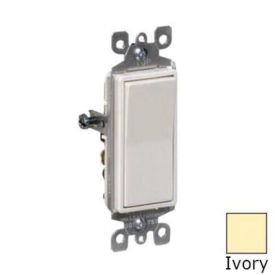 Leviton 5601-2I Decora® AC Quiet Rocker Switch; 1-Pole, 120/277 Volt AC, 15 Amp, Ivory