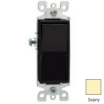 Leviton 5603-2I Decora® AC Quiet 3-Way Rocker Switch; 1-Pole, 120/277 Volt AC, 15 Amp, Ivory