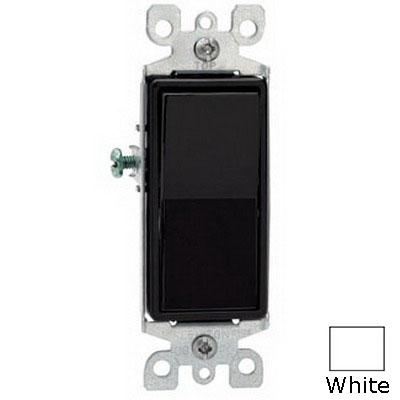 Leviton 5603-2W Decora® AC Quiet 3-Way Rocker Switch; 1-Pole, 120/277 Volt AC, 15 Amp, White