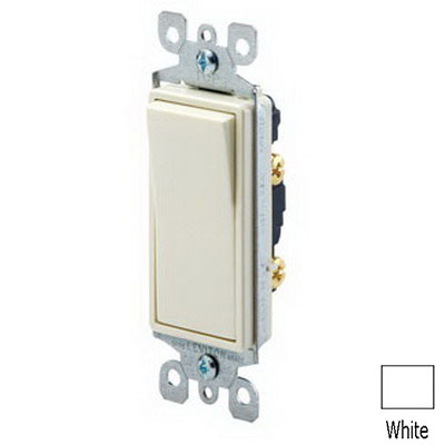 Leviton 5618-2W Decora® AC Quiet Switch; 1-Pole, 120/277 Volt AC, 15 Amp, White