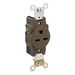 Leviton 5661 Double Pole Straight Blade Single Receptacle; Wall Mount, 250 Volt, 15 Amp, Brown