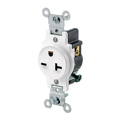 Leviton 5821-W Double Pole Straight Blade Single Receptacle; Wall Mount, 250 Volt, 20 Amp, White