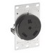 Leviton 7313 Double Pole Straight Blade Power Receptacle; Flush Mount, 125 Volt, 30 Amp, Black