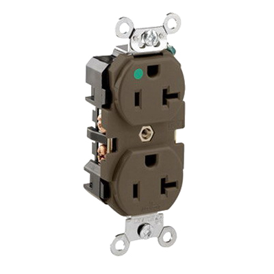 Leviton 8300 Double Pole Straight Blade Duplex Receptacle; Wall Mount, 125 Volt, 20 Amp, Brown