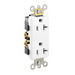 Leviton 16342-W Decora® Plus Double Pole Straight Blade Duplex Receptacle; Wall Mount, 125 Volt, 20 Amp, White