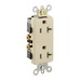 Leviton 16352-I Decora® Plus Double Pole Straight Blade Duplex Receptacle; Wall Mount, 125 Volt, 20 Amp, Ivory