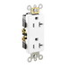 Leviton 16352-W Decora® Plus Double Pole Straight Blade Duplex Receptacle; Wall Mount, 125 Volt, 20 Amp, White