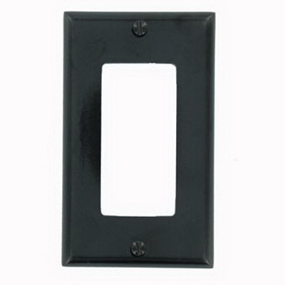 Leviton 80401-E Decora® 1-Gang Standard-Size GFCI Decorator Wallplate; Device Mount, Thermoset Plastic, Black