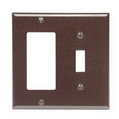 Leviton 80405 Decora® 2-Gang Standard-Size Combination Wallplate; Device Mount, Thermoset Plastic, Brown