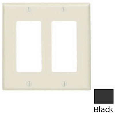 Leviton 80409-E Decora® 2-Gang Standard-Size GFCI Decorator Wallplate; Device Mount, Thermoset Plastic, Black