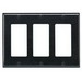 Leviton 80411-E Decora® 3-Gang Standard-Size GFCI Decorator Wallplate; Device Mount, Thermoset Plastic, Black