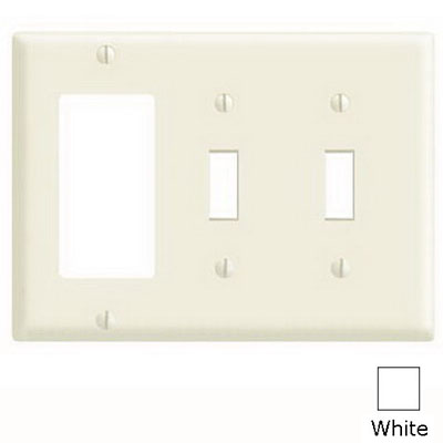 Leviton 80421-W Decora® 3-Gang Standard-Size Combination Wallplate; Device Mount, Thermoset Plastic, White