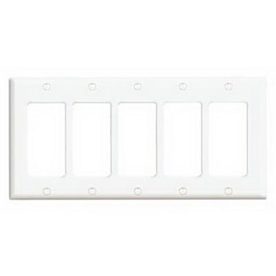 Leviton 80423-W Decora® 5-Gang Standard-Size GFCI Decorator Wallplate; Device Mount, Thermoset Plastic, White