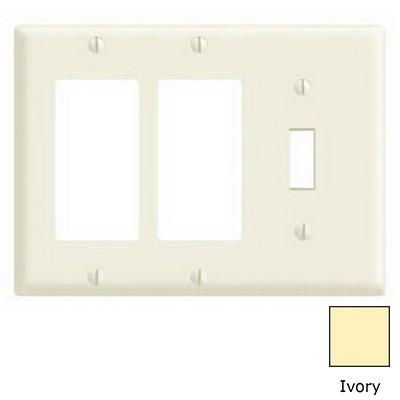 Leviton 80431-I Decora® 3-Gang Standard-Size Combination Wallplate; Device Mount, Thermoset Plastic, Ivory
