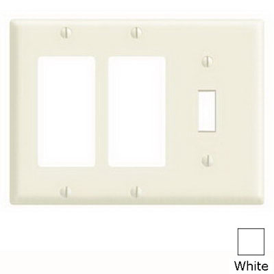 Leviton 80431-W Decora® 3-Gang Standard-Size Combination Wallplate; Device Mount, Thermoset Plastic, White