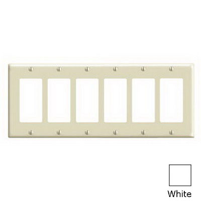 Leviton 80436-W Decora® 6-Gang Standard-Size GFCI Decorator Wallplate; Device Mount, Thermoset Plastic, White