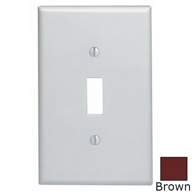 Leviton 80501 1-Gang Midway-Size Toggle Switch Wallplate; Device Mount, Thermoset Plastic, Brown