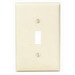 Leviton 80501-I 1-Gang Midway-Size Toggle Switch Wallplate; Device Mount, Thermoset Plastic, Ivory