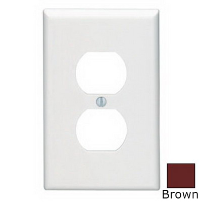 Leviton 80503 1-Gang Midway-Size Duplex Receptacle Wallplate; Device Mount, Thermoset Plastic, Brown