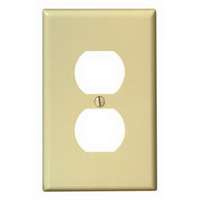 Leviton 80503-I 1-Gang Midway-Size Duplex Receptacle Wallplate; Device Mount, Thermoset Plastic, Ivory