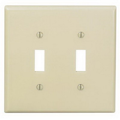 Leviton 80509-I 2-Gang Midway-Size Toggle Switch Wallplate; Device Mount, Thermoset Plastic, Ivory