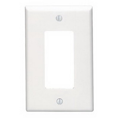 Leviton 80601-W Decora® 1-Gang Midway-Size GFCI Decorator Wallplate; Device Mount, Thermoset Plastic, White